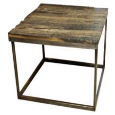 Vista Sandblasted Natural Wood End Table