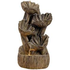 Wood Flower Indoor - Outdoor Fountain with Light