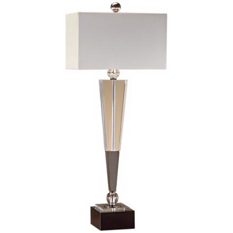 John Richard Blackened Chrome Crystal Table Lamp