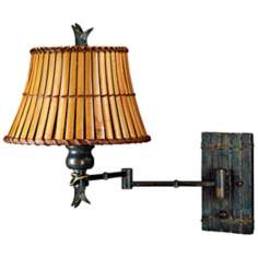 Kenroy Kwai Bamboo Shade Plug-In Swing Arm Wall Lamp