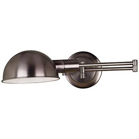 Kenroy Frye Pharmacy Nickel Plug-In Swing Arm Wall Lamp