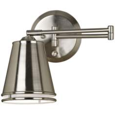 Kenroy Metro Pharmacy Nickel Plug-In Swing Arm Wall Lamp