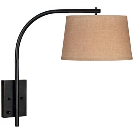 Kenroy Sweep Bronze Small  Plug-In Swing Arm Wall Lamp