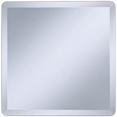 "Square Frameless 18"" Wide Beveled Wall Mirror"