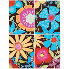 "Flowers and Fudge 16"" High 12"" Wide Set of 4 Wall Art"