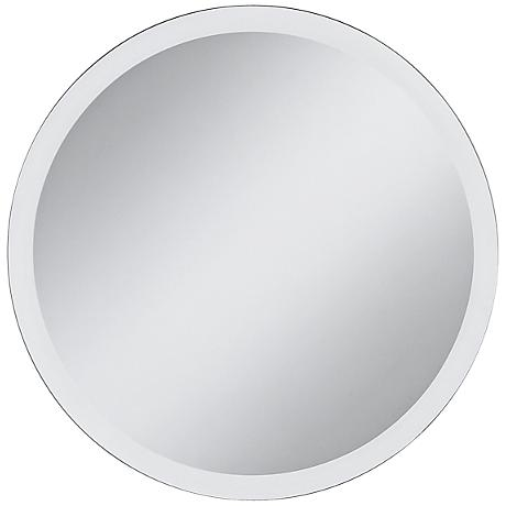 "Round Frameless 42"" Wide Beveled Mirror"