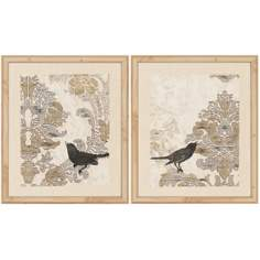 "Set of 2 Damask Songbirds 25"" High Framed Wall Art"