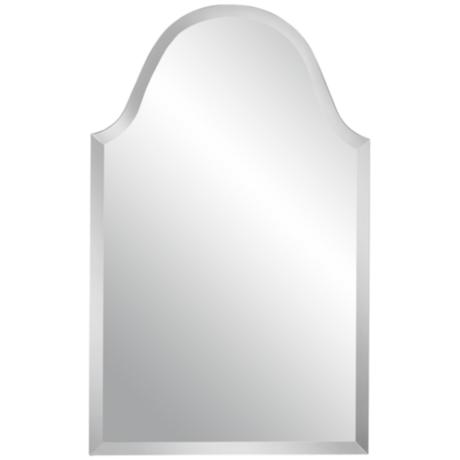 "Crown Arch Frameless 32"" High Beveled Wall Mirror"