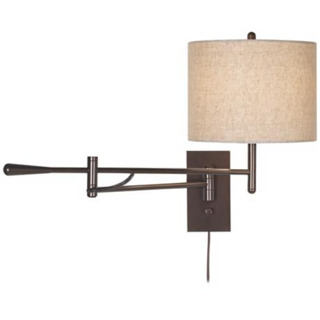 Possini Contemporary Bronze Boom Plug-in Swing Arm Wall Lamp