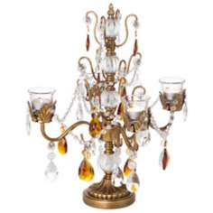 "Amber & Antique Gold 18"" High Beaded Candelabra"