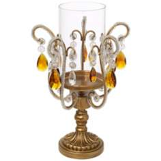 Clear and Amber Crystal Hurricane Candle Holder