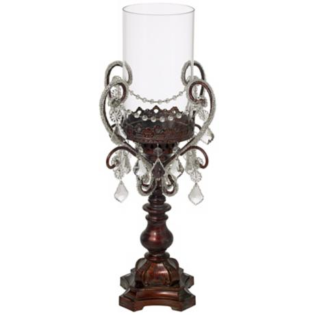 Clear Beading and Drops Pillar Candle Holder