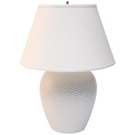 Haeger Potteries White Ceramic Basket Table Lamp