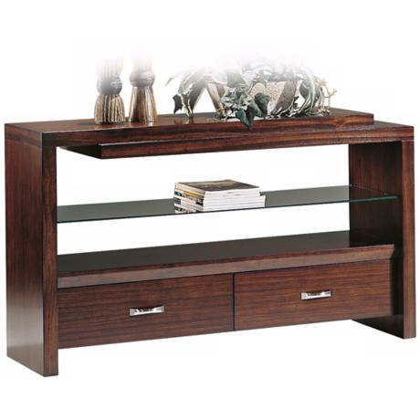 Perspective Warm Honey Finish Console Table