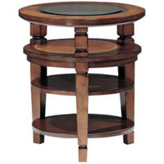 Denver Cabin Pecan Finish Round Chairside Table