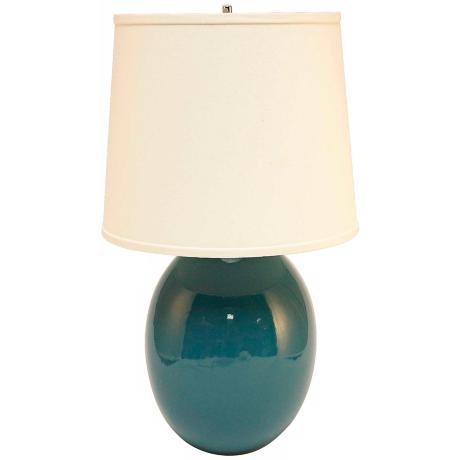 Haeger Potteries Ocean Blue Ceramic Egg Table Lamp