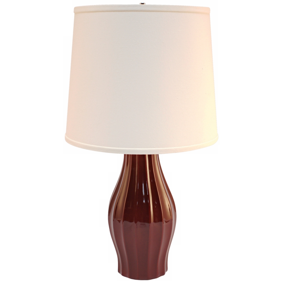 Haeger Potteries Cranberry Fluted Ceramic Table Lamp P2031 On Popscreen