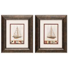 "American Yacht I and II 13"" High Framed Wall Art"