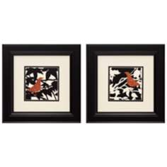 "Ornate Bird I and II 14"" Square Framed Wall Art"