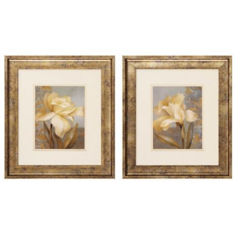 "Teal Radiance I and II 19"" Wide Framed Wall Art"