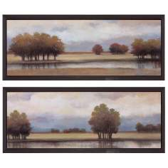 "Set of Two Lazy River I and II 35"" Wide Framed Wall Art"