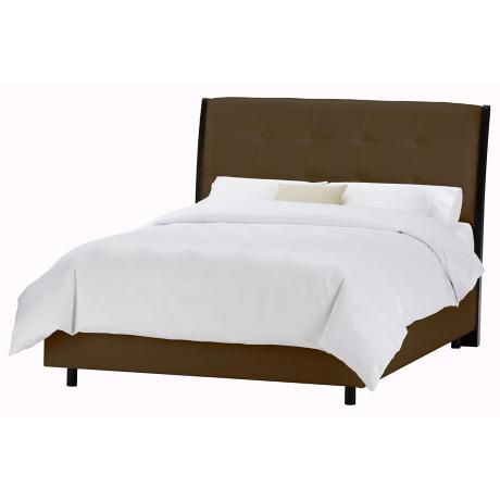 Upholstered Headboard Brown Vinyl Bed (Full)