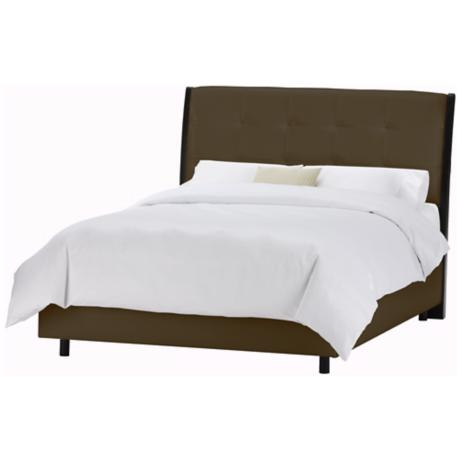 Upholstered Headboard Brown Vinyl Bed (California King)