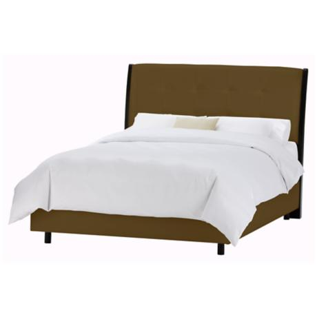 Upholstered Headboard Chocolate Microsuede Bed (Cal King)