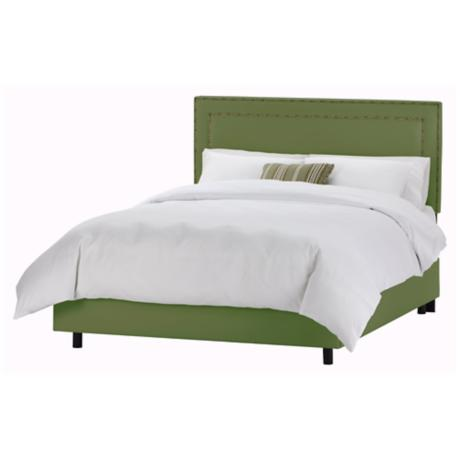 Nail Button Border Headboard Jungle Twill Bed (King)