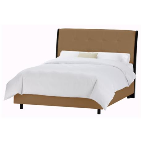 Upholstered Headboard Khaki Microsuede Bed (Queen)