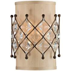 "Jeweled Golden Bronze 11"" High Wall Sconce"