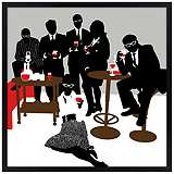 "Martini Lunch 26"" Square Black Giclee Wall Art"
