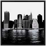 "New York Skyline 26"" Square Black Giclee Wall Art"