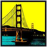 "San Francisco Bay 26"" Square Black Giclee Wall Art"