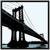 "Manhattan Bridge 31"" Square Black Giclee Wall Art"