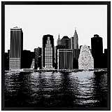 "New York Skyline 31"" Square Black Giclee Wall Art"