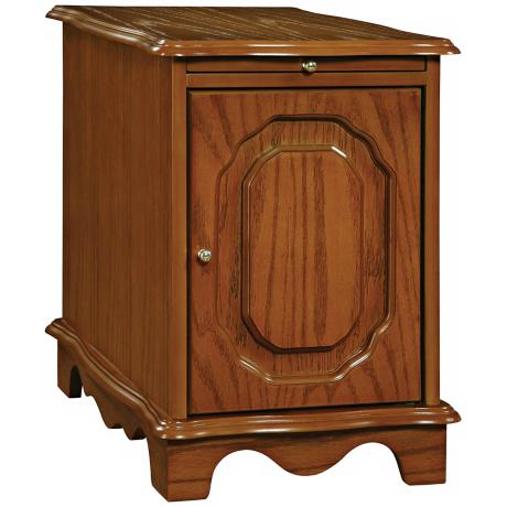 Nostalgic Oak Magazine Rack Chairside Table