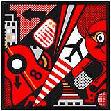 "Mixup 2000 Red 31"" Square Black Giclee Wall Art"