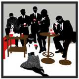 "Martini Lunch 37"" Square Black Giclee Wall Art"