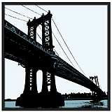 "Manhattan Bridge 37"" Square Black Giclee Wall Art"