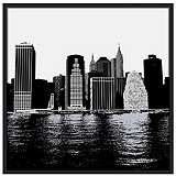 "New York Skyline 37"" Square Black Giclee Wall Art"