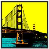 "San Francisco Bay 37"" Square Black Giclee Wall Art"