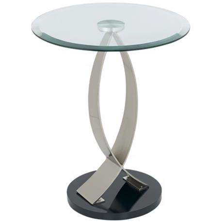 Swoop Glass and Metal Round End Table