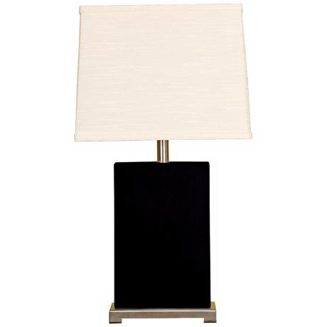 Splash Collection Black Ceramic Rectangular Table Lamp