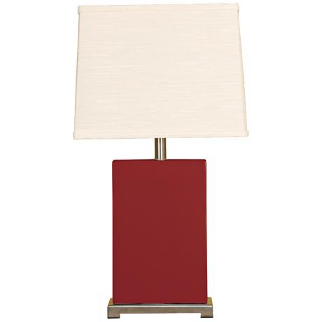 Splash Collection Burgundy Ceramic Rectangular Table Lamp