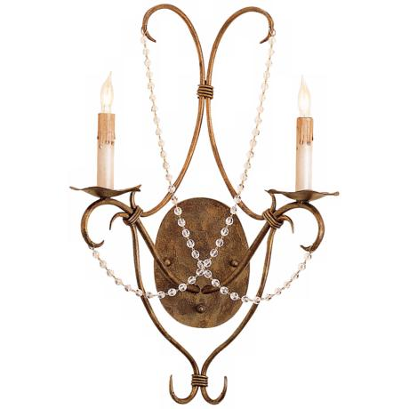 "Currey and Company Crystal Lights 22"" High Plug-In Sconce"