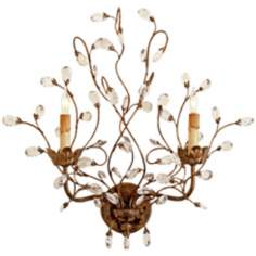 "Currey and Company Crystal Bud 21"" High Plug-In Wall Sconce"