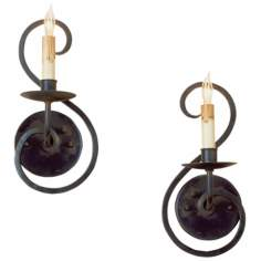 "Set of 2 Currey and Company Iron Flourish 11"" High Sconces"