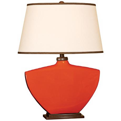 Splash Collection Red Curved Ceramic Table Lamp