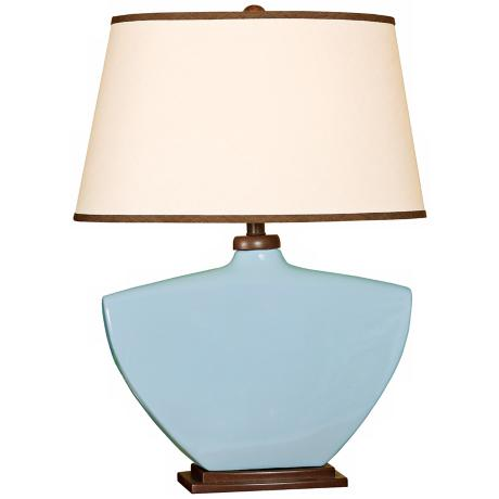 Splash Collection Sky Blue Curved Ceramic Table Lamp